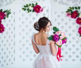 Hand-held bouquet bride posing Stock Photo 04