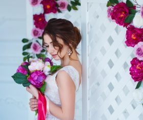 Hand-held bouquet bride posing Stock Photo 05