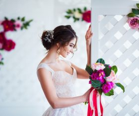 Hand-held bouquet bride posing Stock Photo 06