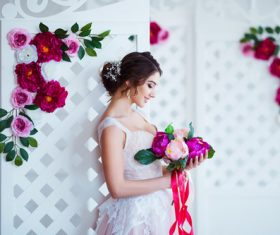 Hand-held bouquet bride posing Stock Photo 11