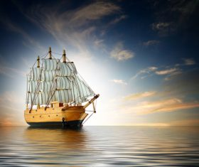 Handmade wooden boat model Stock Photo