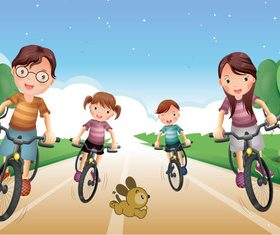Happy family bicycle sport vector