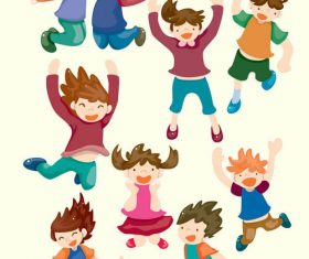 Happy jumping children vector