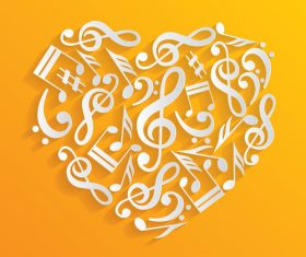 Heart with musical note vector