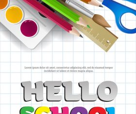 Hello school background with stationery vector 01
