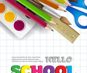 Hello school background with stationery vector 02