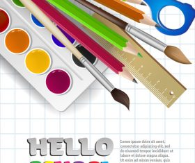 Hello school background with stationery vector 03