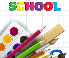 Hello school background with stationery vector 04