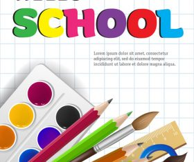 Hello school background with stationery vector 05