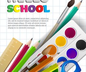 Hello school background with stationery vector 06