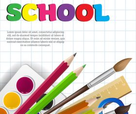 Hello school background with stationery vector 07