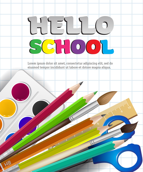 Hello school background with stationery vector 08