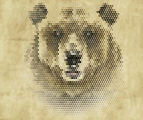 Hexagon wave point bear head vector material