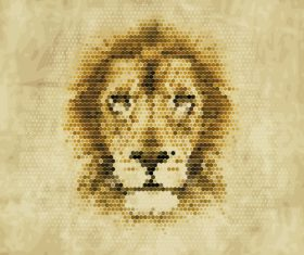 Hexagon wave point lion head vector material