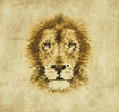 Hexagon wave point lion head vector material