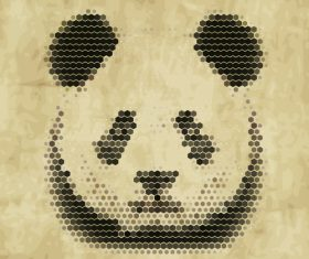 Hexagon wave point panda head vector material