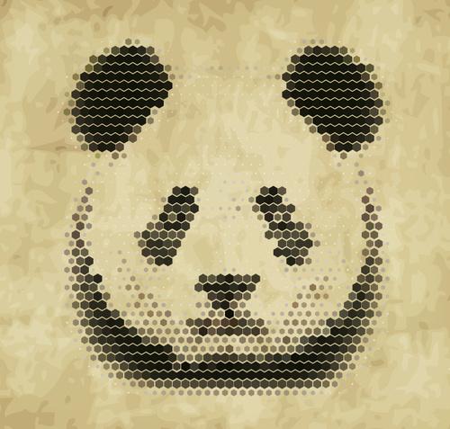 Hexagon wave point panda head vector material