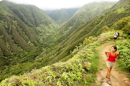 Hiking mountaineer Stock Photo
