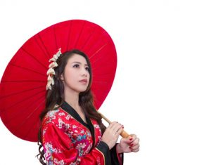 Hold up an red umbrella woman Stock Photo