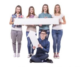 Holding cardboard happy young students Stock Photo 05