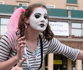 Horror girl clown makeup Stock Photo