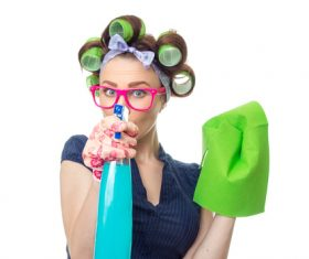 Housewife wiping glass Stock Photo 02