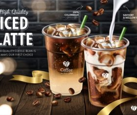 Iced latte ads in 3d vector illustration 01