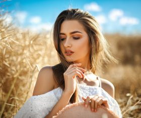 In the wheat field charming and attractive girl Stock Photo 01