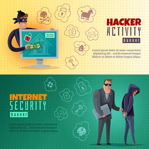 Internet hacker banners vector