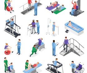 Isometric rehabilitation physiotherapy set vector