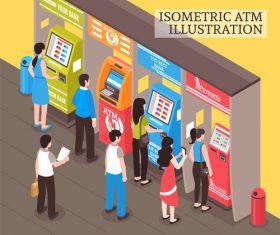 Isometric vending machines illustration vector