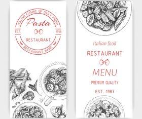 Italian pasta menu template vector