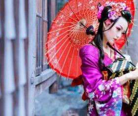 Japanese kimono beauty Stock Photo