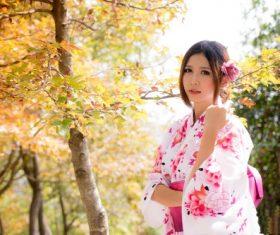 Japanese kimono girl outdoor photo Stock Photo