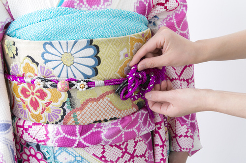 Japanese kimono wear method Stock Photo