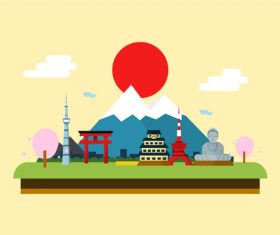 Japanese landscape ethnic style illustration