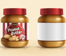 Jar with peanut butter vector