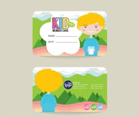 Kid club member card template vector 01