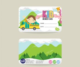 Kid club member card template vector 02