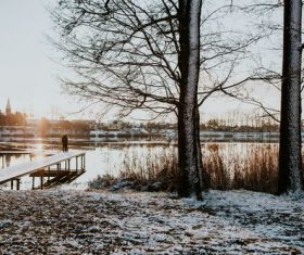 Lakeside scenery in winter Stock Photo