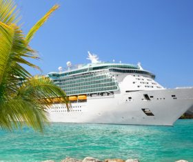 Large cruise ship moored in the dock Stock Photo