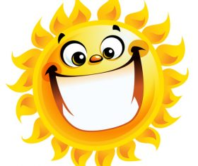 Laughing cartoon summer sun vector