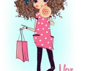 Little girl eating lollipop candy vector material