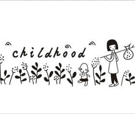 Little girl picking flowers vector