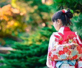 Little girl wearing japanese national costume kimono Stock Photo