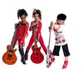 Little girls and Bass posing Stock Photo