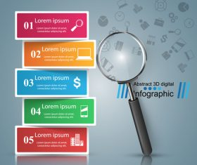 Magnifier with colored option infographic vector