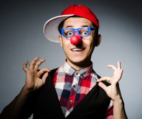 Man with red nose glasses Stock Photo