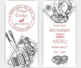 Meat dishes menu template vector
