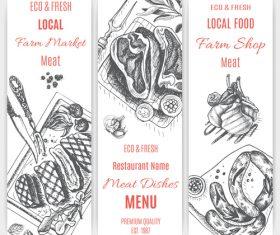Meat menu card template vector 01